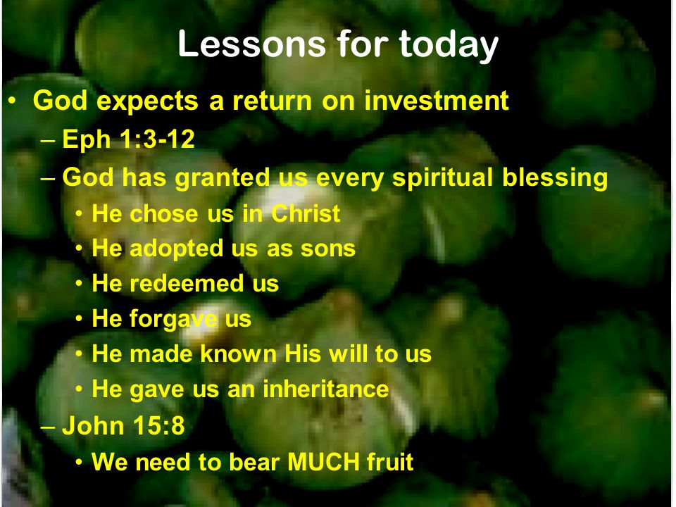 Lessons for today God expects a return on investment –Eph 1:3-12 –God has granted us every spiritual blessing He chose us in Christ He adopted us as sons He redeemed us He forgave us He made known His will to us He gave us an inheritance –John 15:8 We need to bear MUCH fruit