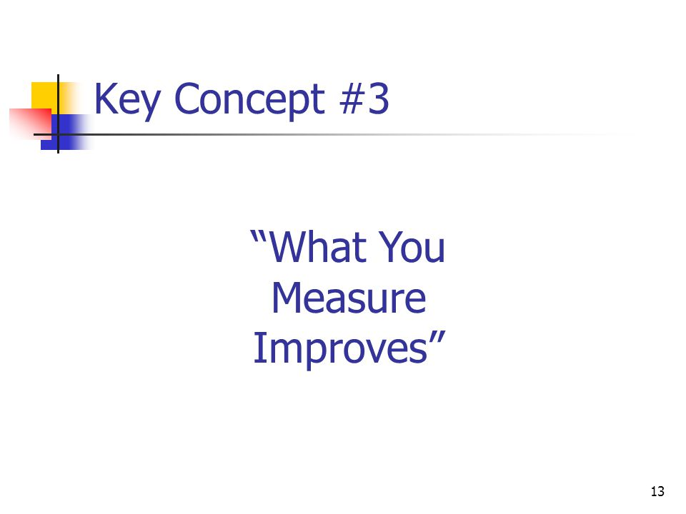 """13 Key Concept #3 """"What You Measure Improves"""""""
