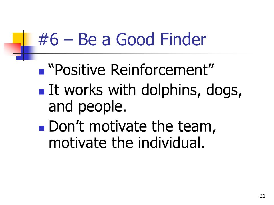 """21 #6 – Be a Good Finder """"Positive Reinforcement"""" It works with dolphins, dogs, and people. Don't motivate the team, motivate the individual."""