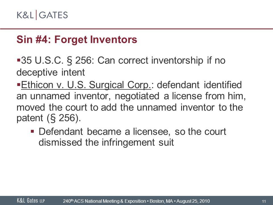 11 Sin #4: Forget Inventors  35 U.S.C.