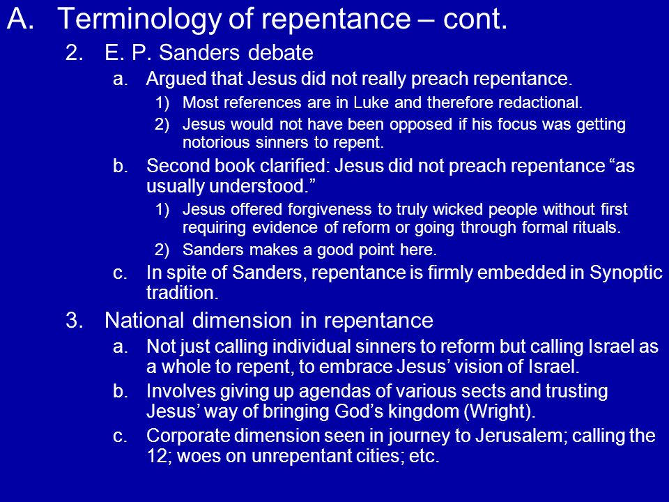 A. A.Terminology of repentance – cont. 2. 2.E. P.