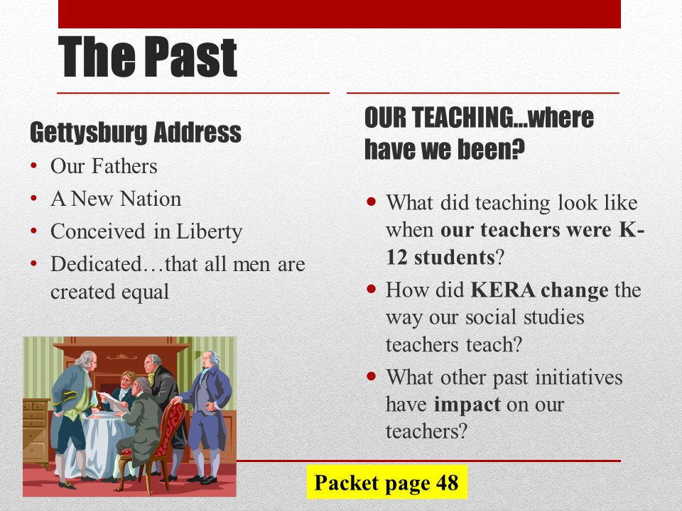 Gettysburg Address OUR TEACHING…where have we been.