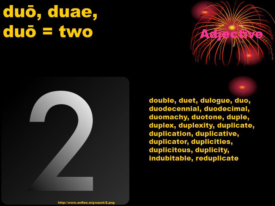 http://www.onflex.org/count/2.png duō, duae, duō = two Adjective double, duet, dulogue, duo, duodecennial, duodecimal, duomachy, duotone, duple, duplex, duplexity, duplicate, duplication, duplicative, duplicator, duplicities, duplicitous, duplicity, indubitable, reduplicate