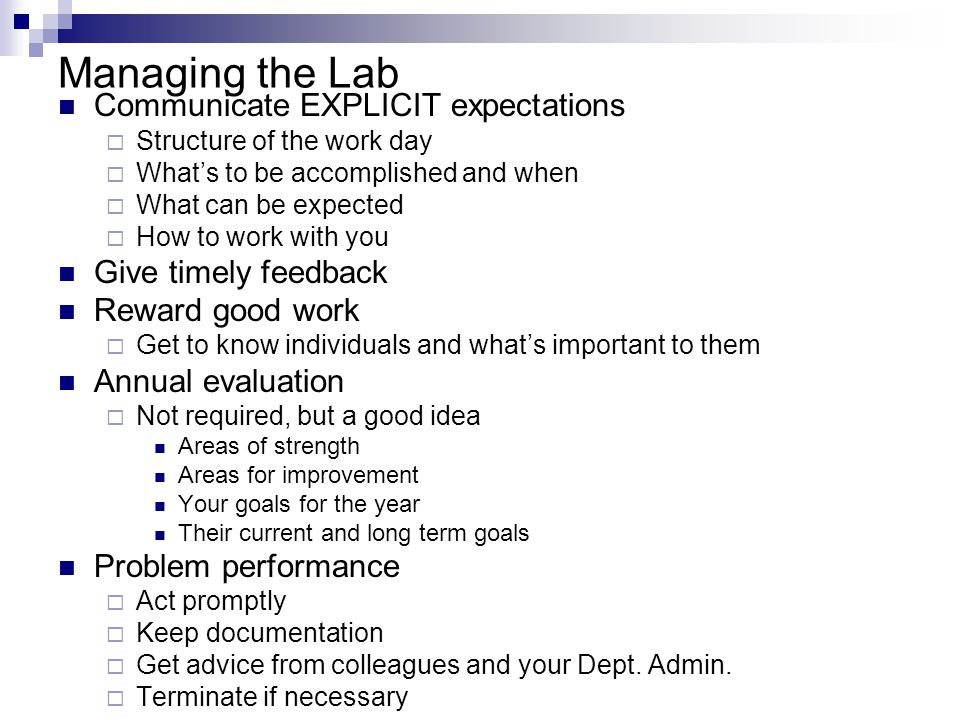 Managing the Lab Communicate EXPLICIT expectations  Structure of the work day  What's to be accomplished and when  What can be expected  How to work with you Give timely feedback Reward good work  Get to know individuals and what's important to them Annual evaluation  Not required, but a good idea Areas of strength Areas for improvement Your goals for the year Their current and long term goals Problem performance  Act promptly  Keep documentation  Get advice from colleagues and your Dept.