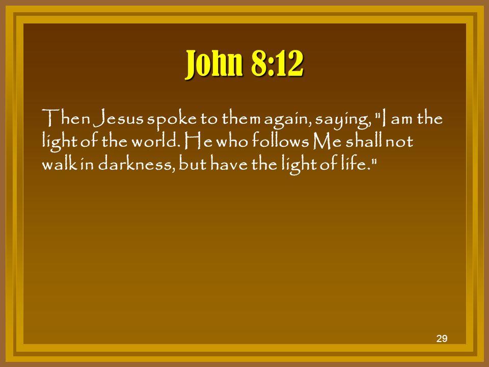 29 John 8:12 Then Jesus spoke to them again, saying,