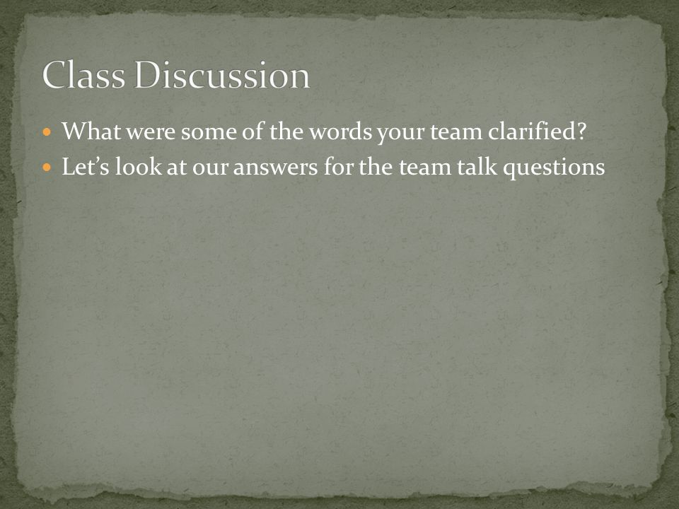 What were some of the words your team clarified.