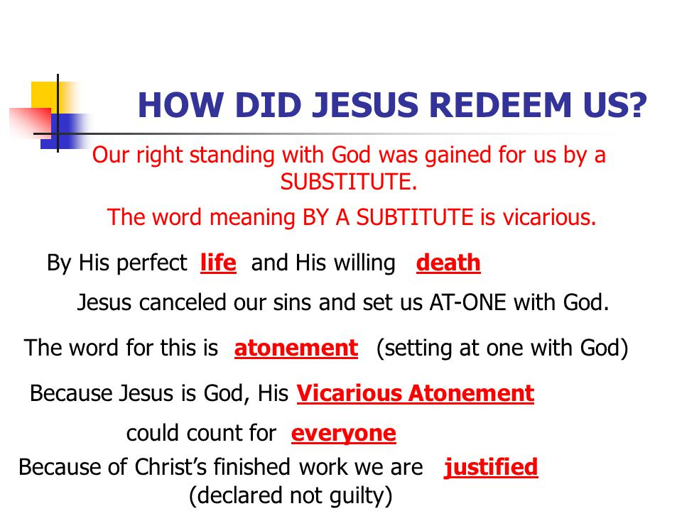 HOW DID JESUS REDEEM US? Our right standing with God was gained for us by a SUBSTITUTE. The word meaning BY A SUBTITUTE is vicarious. By His perfectli