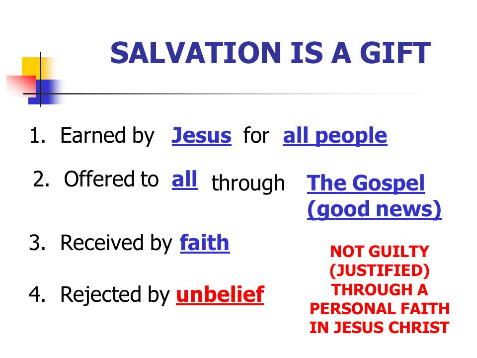 SALVATION IS A GIFT 1. Earned byJesusforall people 2. Offered toall throughThe Gospel (good news) 3. Received byfaith 4. Rejected byunbelief NOT GUILT