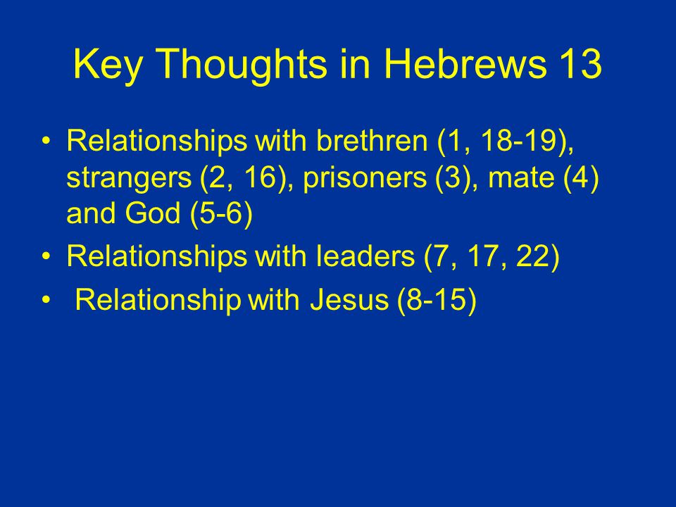 Key Thoughts in Hebrews 13 Relationships with brethren (1, 18-19), strangers (2, 16), prisoners (3), mate (4) and God (5-6) Relationships with leaders (7, 17, 22) Relationship with Jesus (8-15)