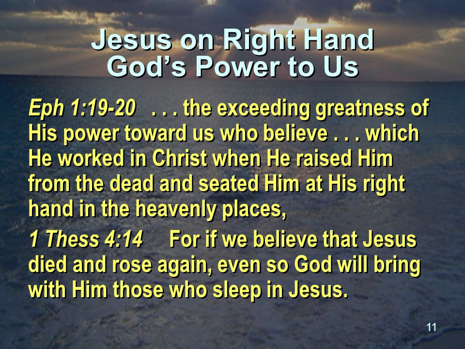 11 Jesus on Right Hand God's Power to Us Eph 1:19-20...
