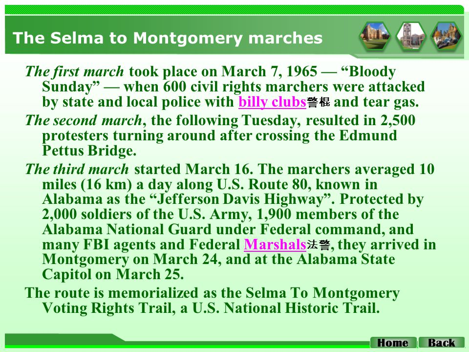 "The Selma to Montgomery marches The first march took place on March 7, 1965 — ""Bloody Sunday"" — when 600 civil rights marchers were attacked by state"