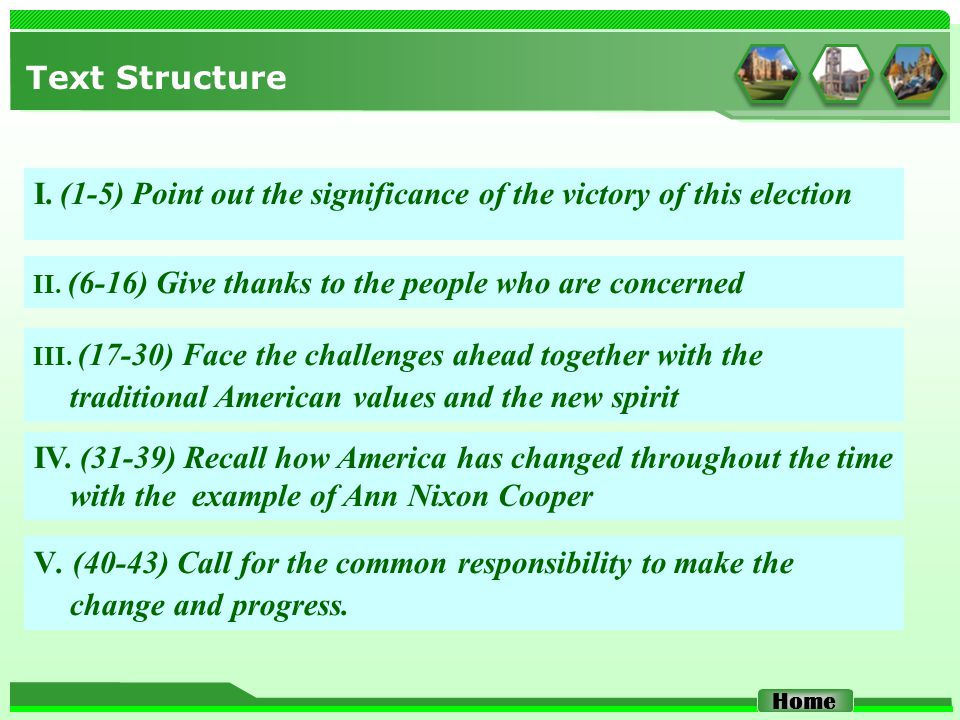 Text Structure I. (1-5) Point out the significance of the victory of this election Home II. (6-16) Give thanks to the people who are concerned III. (1
