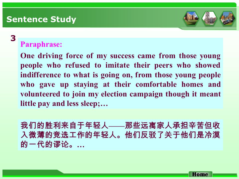 Sentence Study Paraphrase: One driving force of my success came from those young people who refused to imitate their peers who showed indifference to