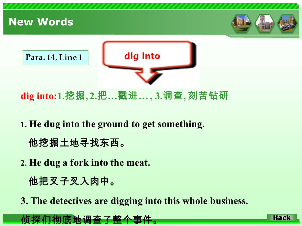 dig into:1. 挖掘, 2. 把 … 戳进 …, 3. 调查, 刻苦钻研 New Words dig into 1. He dug into the ground to get something. 他挖掘土地寻找东西。 2. He dug a fork into the meat. 他把叉