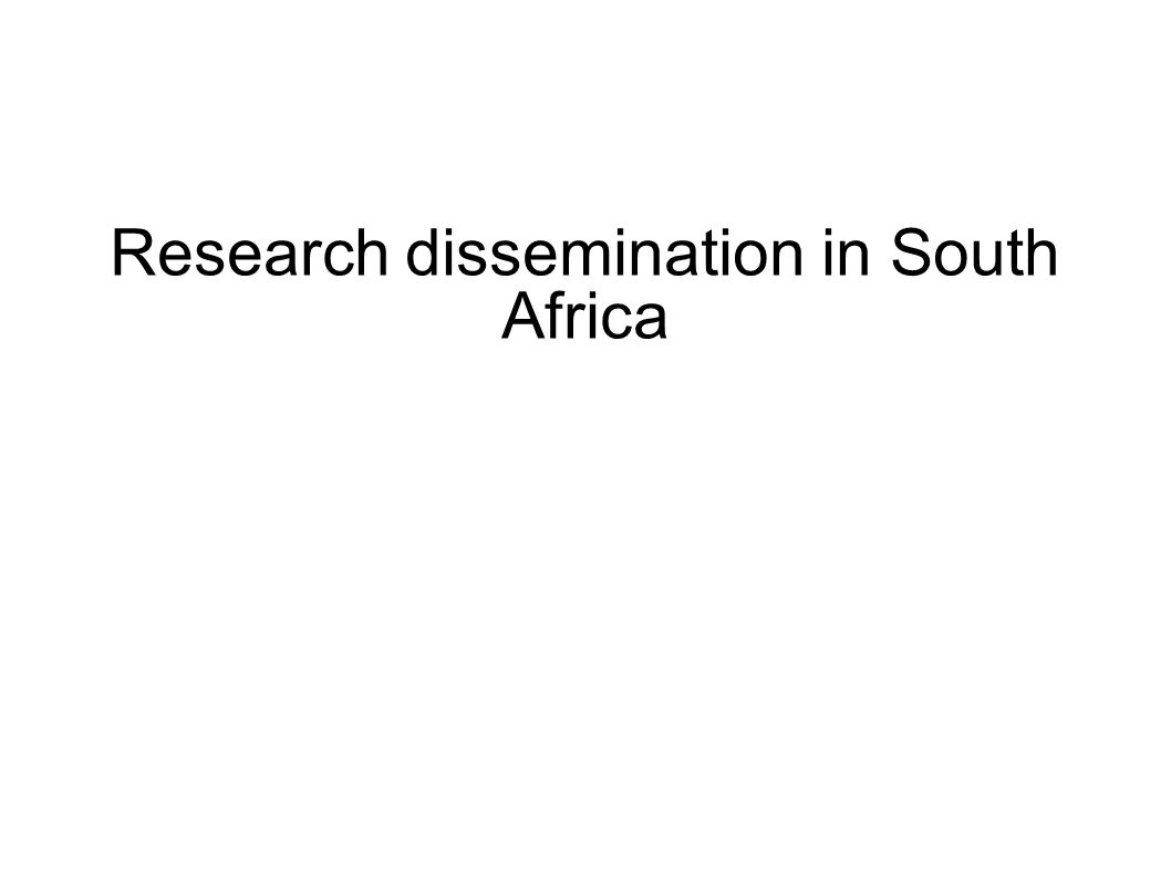 Research dissemination in South Africa
