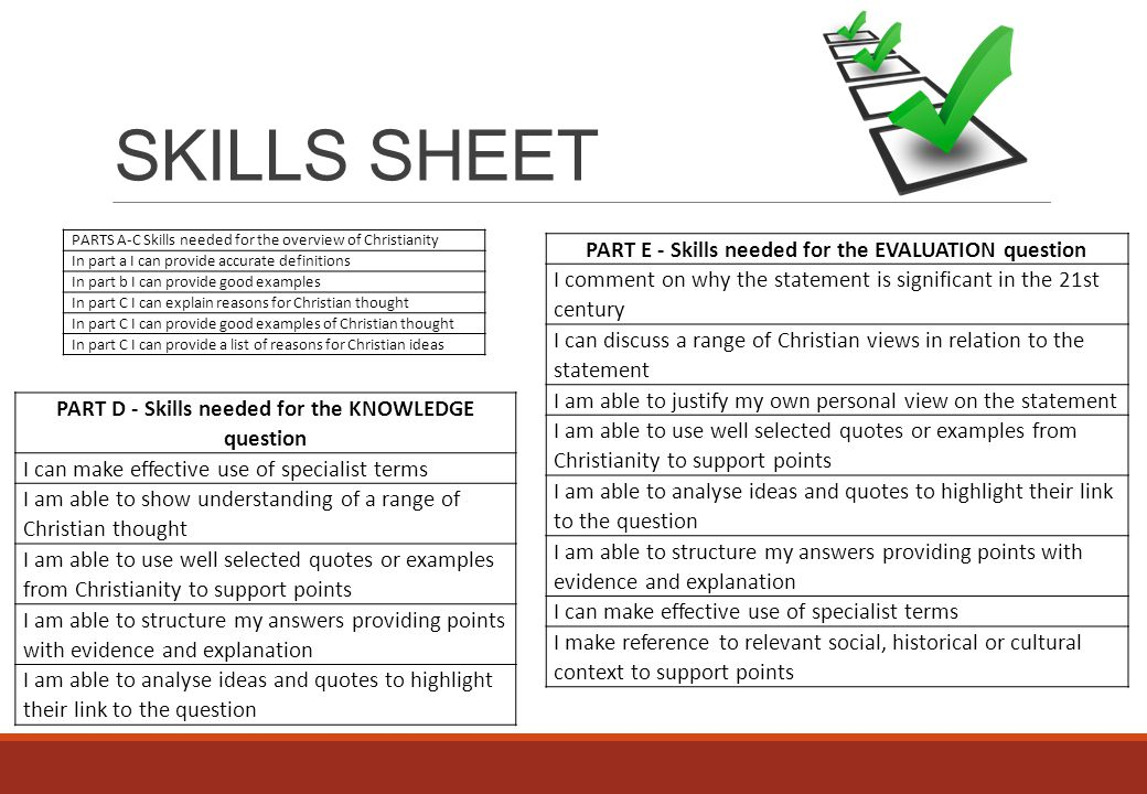 SKILLS SHEET PARTS A-C Skills needed for the overview of Christianity In part a I can provide accurate definitions In part b I can provide good exampl