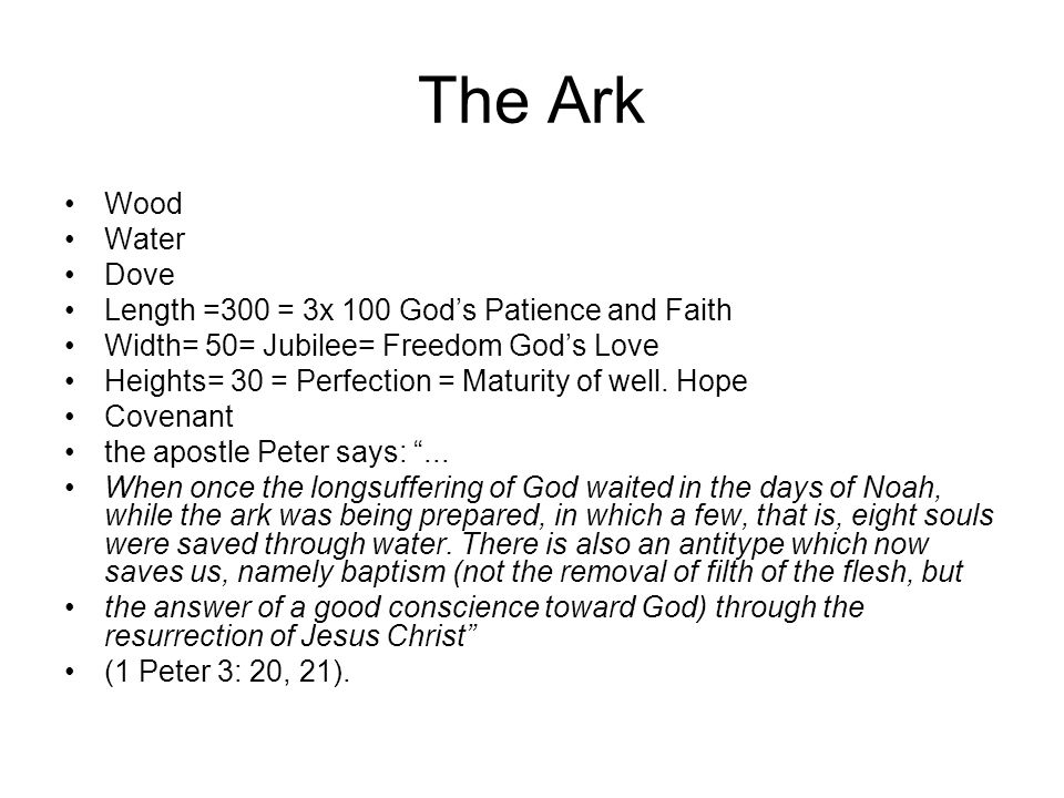 The Ark Wood Water Dove Length =300 = 3x 100 God's Patience and Faith Width= 50= Jubilee= Freedom God's Love Heights= 30 = Perfection = Maturity of we