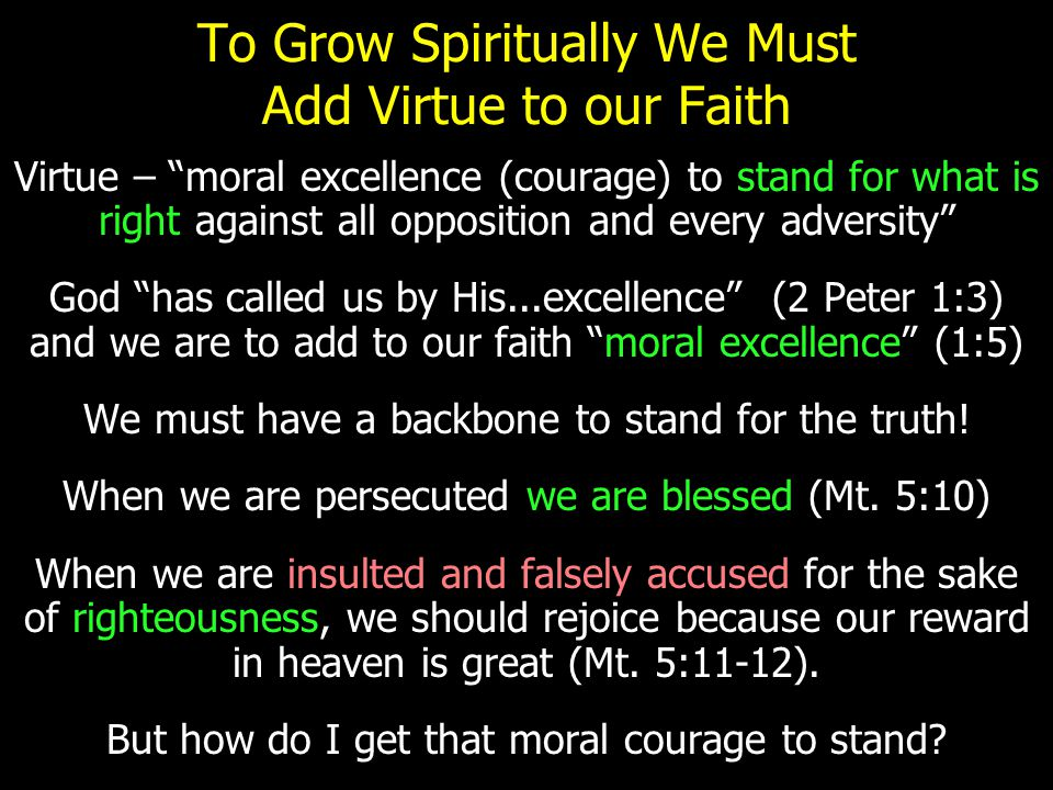"""To Grow Spiritually We Must Add Virtue to our Faith Virtue – """"moral excellence (courage) to stand for what is right against all opposition and every a"""