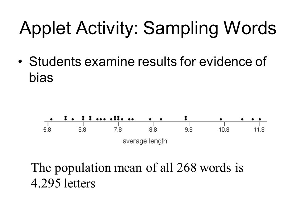 Applet Activity: Sampling Words Students examine results for evidence of bias The population mean of all 268 words is 4.295 letters