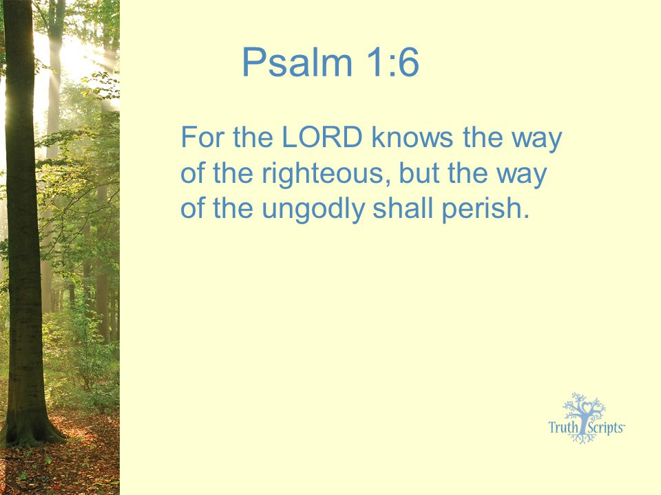 Psalm 1:6 For the LORD knows the way of the righteous, but the way of the ungodly shall perish.