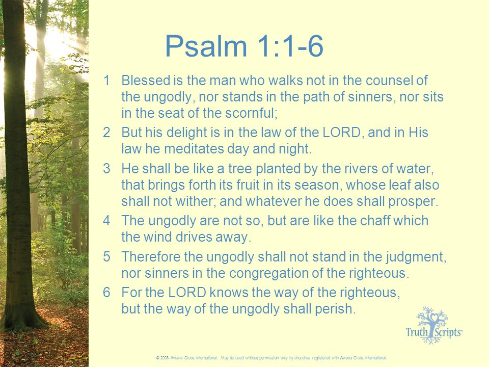 Psalm 1:1-6 1 Blessed is the man who walks not in the counsel of the ungodly, nor stands in the path of sinners, nor sits in the seat of the scornful; 2 But his delight is in the law of the LORD, and in His law he meditates day and night.