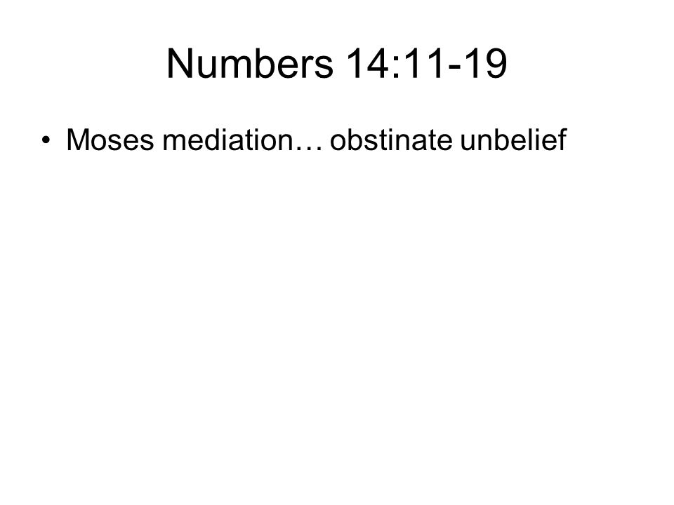 Numbers 14:11-19 Moses mediation… obstinate unbelief