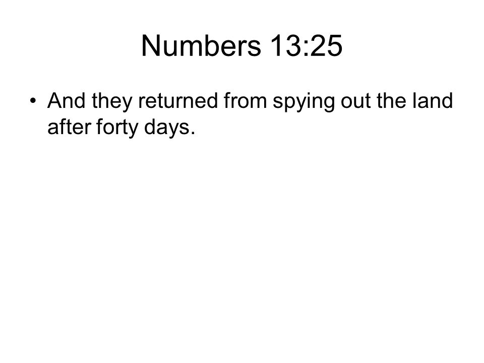 Numbers 13:25 And they returned from spying out the land after forty days.