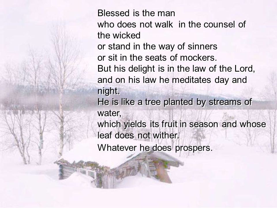 Blessed is the man who does not walk in the counsel of the wicked or stand in the way of sinners or sit in the seats of mockers.