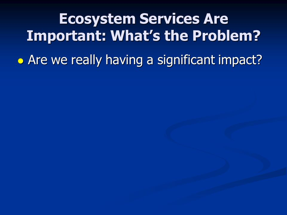 Ecosystem Services Are Important: What's the Problem? Are we really having a significant impact? Are we really having a significant impact?