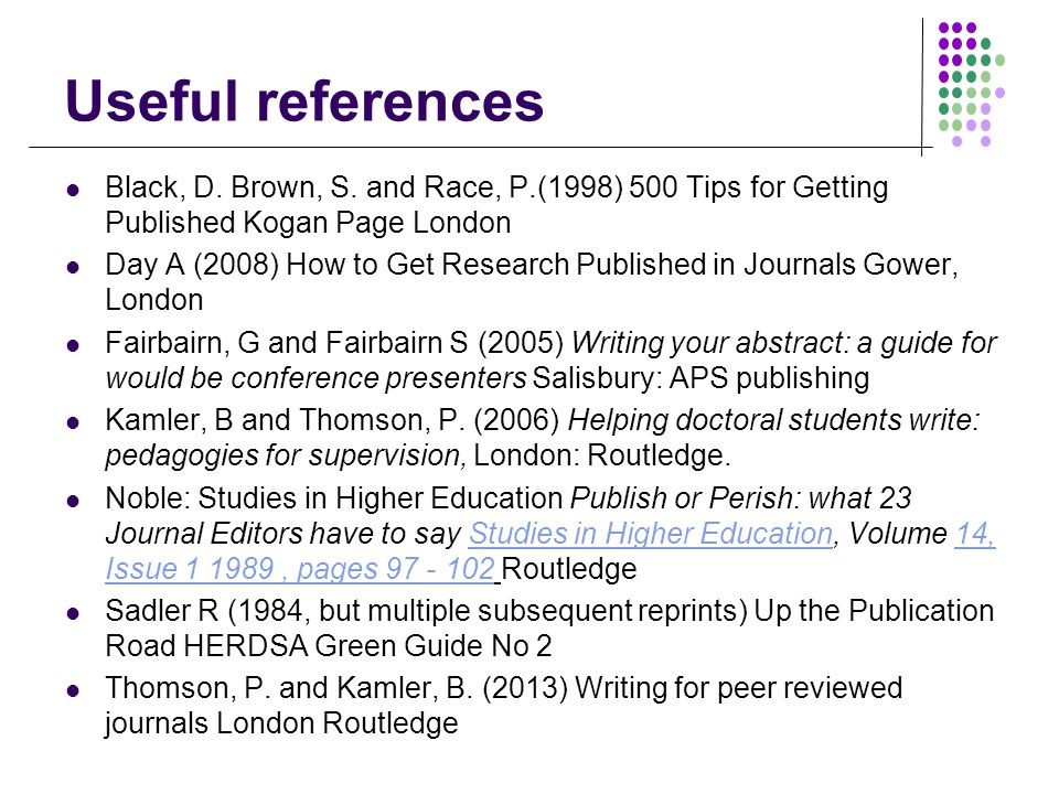 Useful references Black, D. Brown, S.