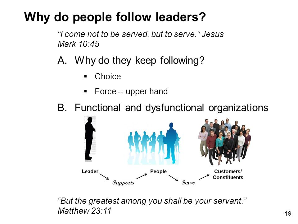 19 A.Why do they keep following. Why do people follow leaders.