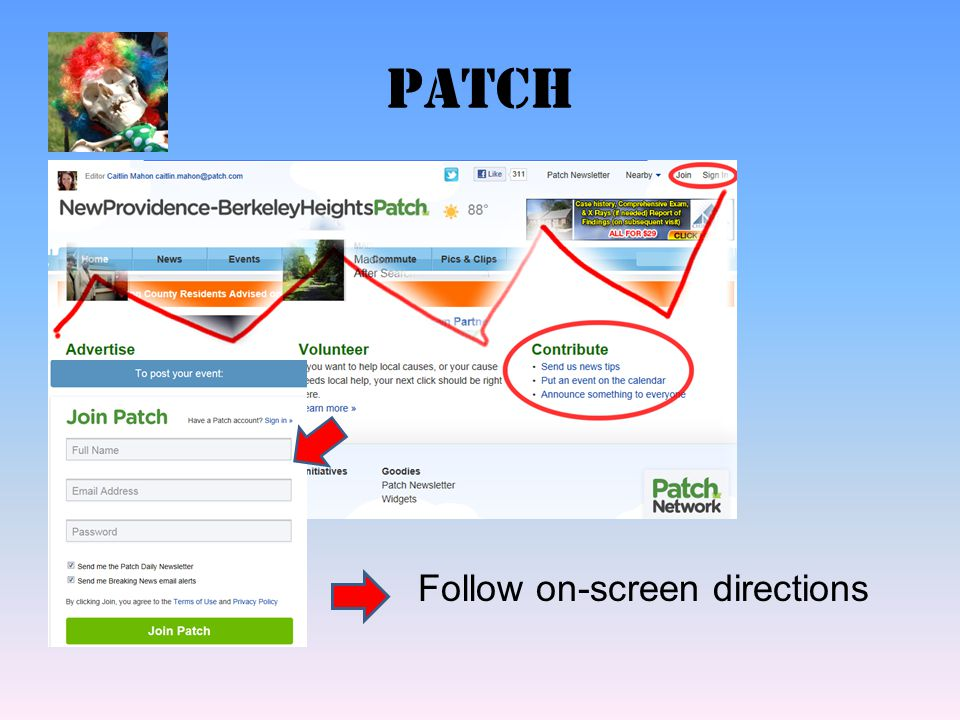 patch Follow on-screen directions