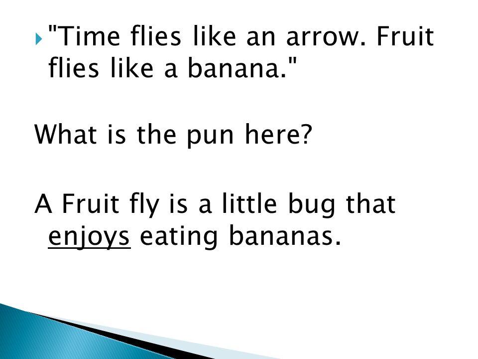  Time flies like an arrow. Fruit flies like a banana. What is the pun here.