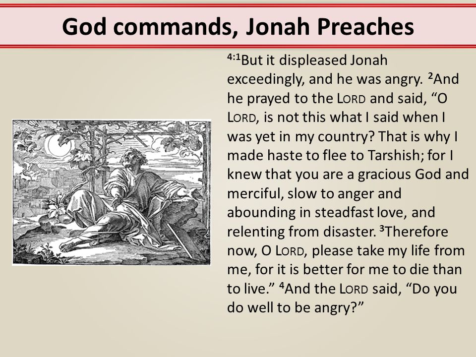 God commands, Jonah Preaches 5 Jonah went out of the city and sat to the east of the city and made a booth for himself there.
