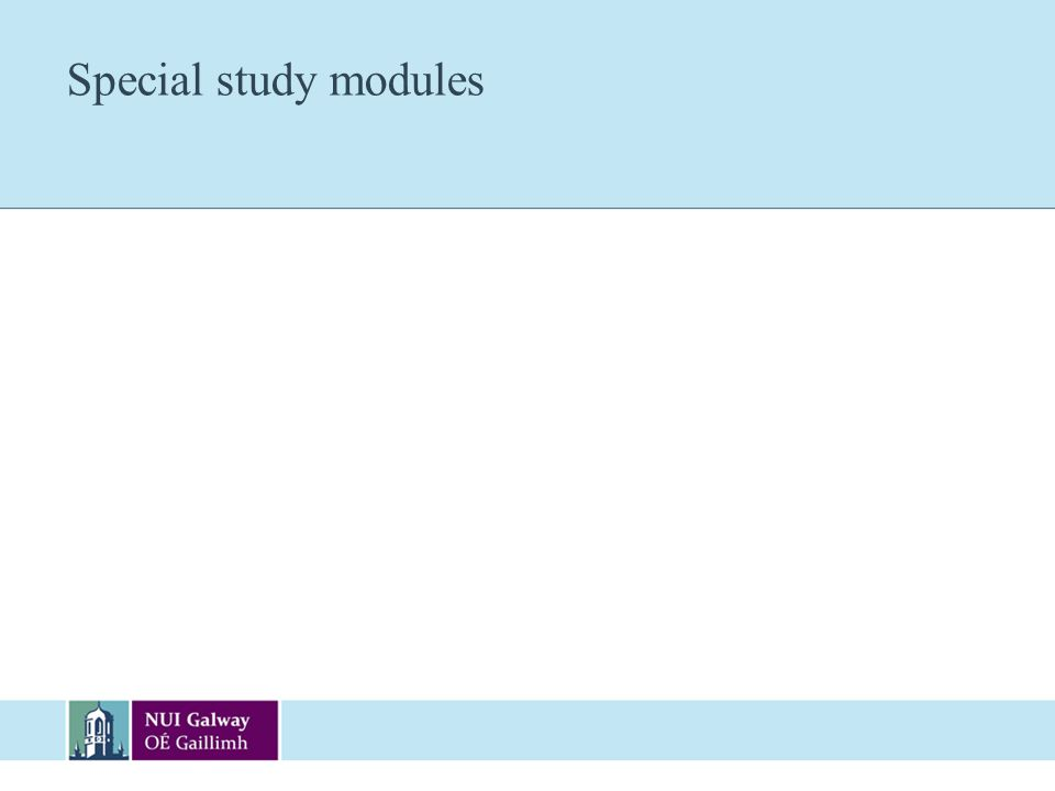 Special study modules
