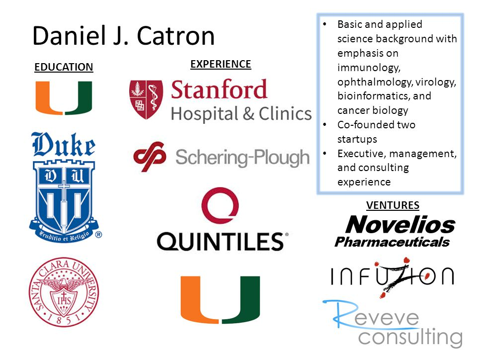 Daniel J. Catron EDUCATION VENTURES EXPERIENCE Novelios Pharmaceuticals Basic and applied science background with emphasis on immunology, ophthalmolog