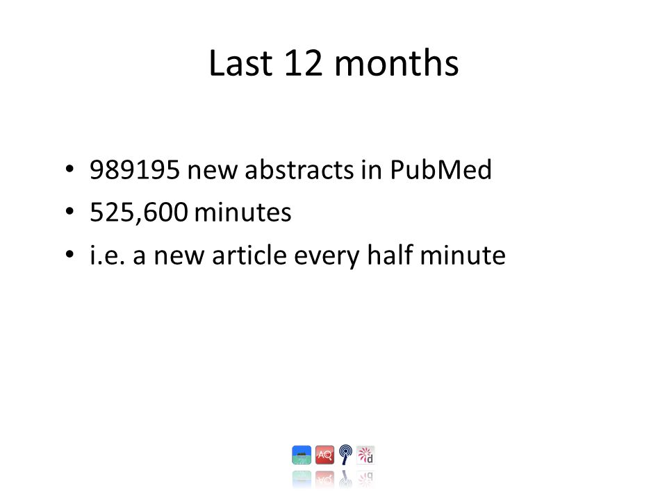 Last 12 months 989195 new abstracts in PubMed 525,600 minutes i.e. a new article every half minute