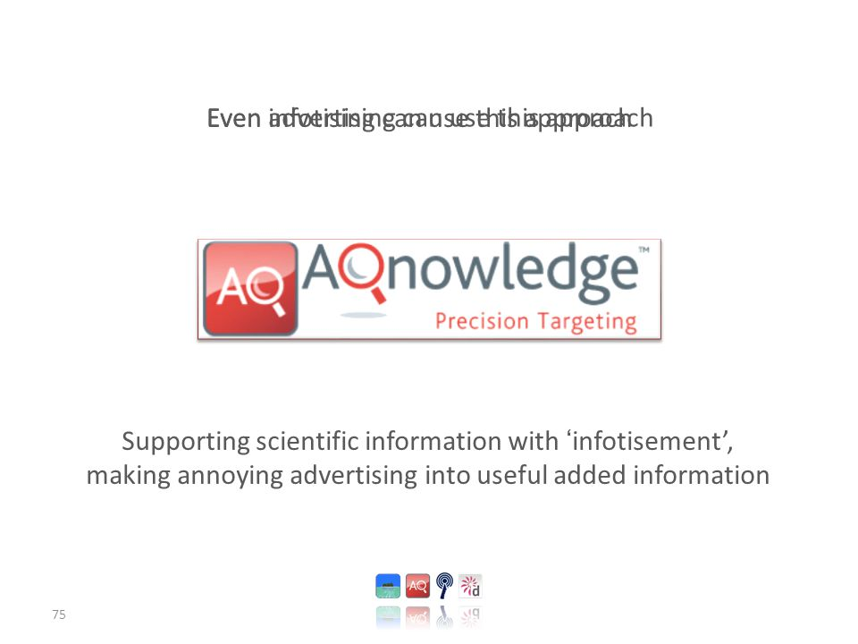 75 Supporting scientific information with 'infotisement', making annoying advertising into useful added information Even advertising can use this approach Even infotising can use this approach