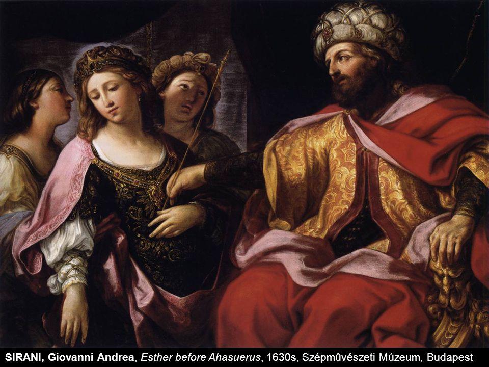 SIRANI, Giovanni Andrea, Esther before Ahasuerus, 1630s, Szépmûvészeti Múzeum, Budapest