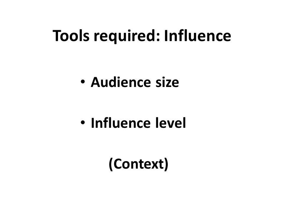 Tools required: Influence Audience size Influence level (Context)