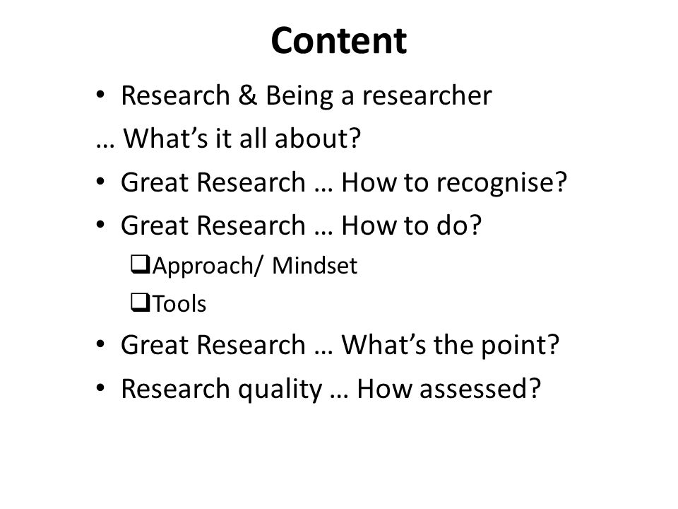 Content Research & Being a researcher … What's it all about.