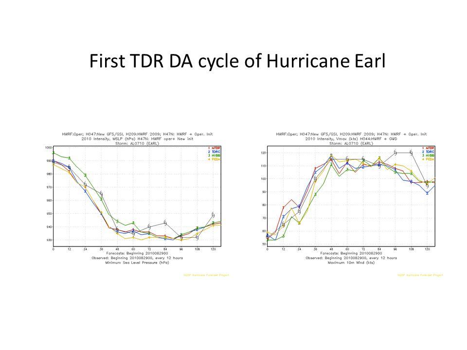 First TDR DA cycle of Hurricane Earl