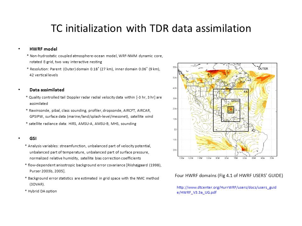 TC initialization with TDR data assimilation HWRF model * Non-hydrostatic coupled atmosphere-ocean model, WRF-NMM dynamic core, rotated E-grid, two wa