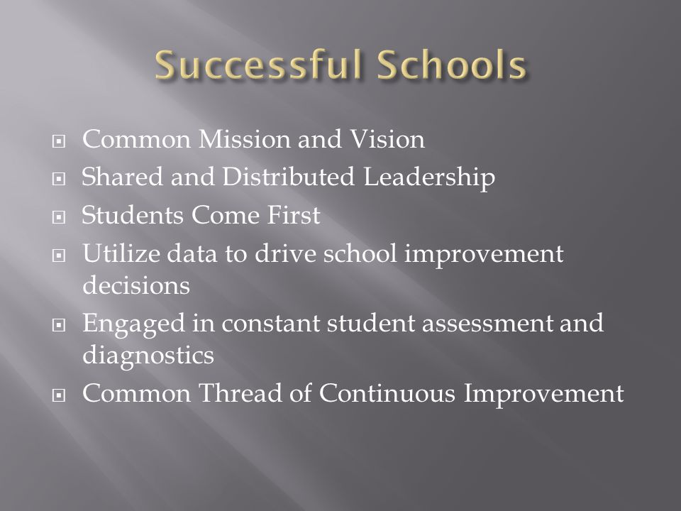  Common Mission and Vision  Shared and Distributed Leadership  Students Come First  Utilize data to drive school improvement decisions  Engaged in constant student assessment and diagnostics  Common Thread of Continuous Improvement