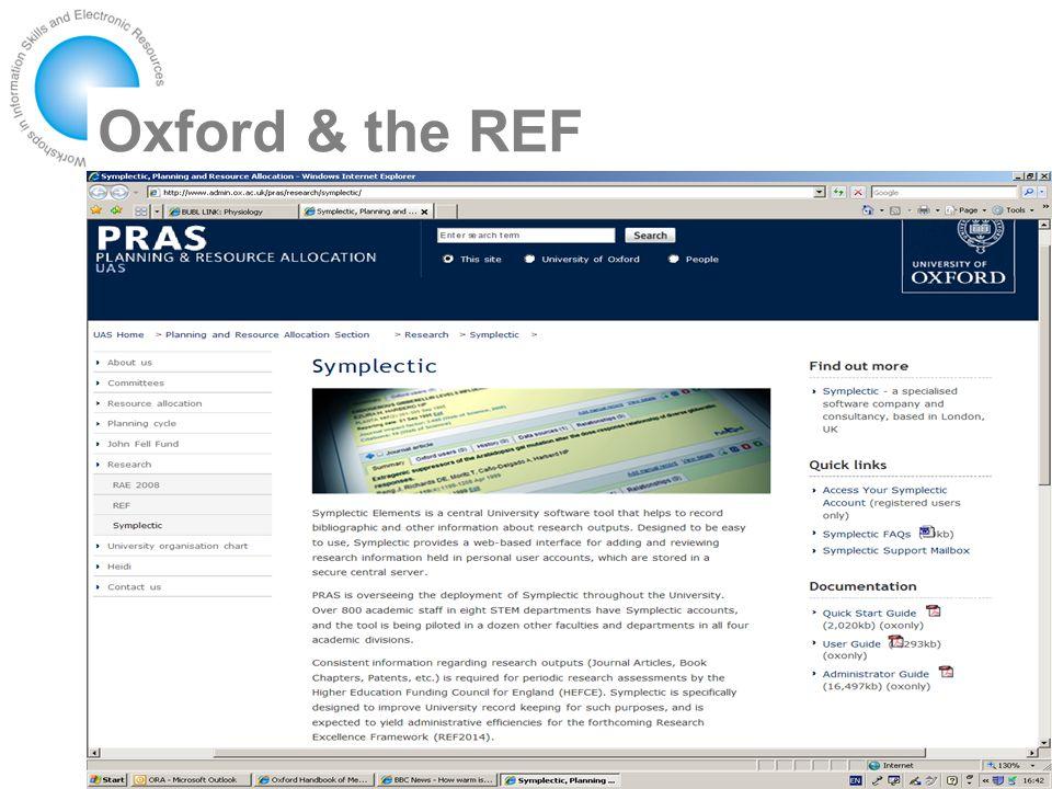 Oxford & the REF