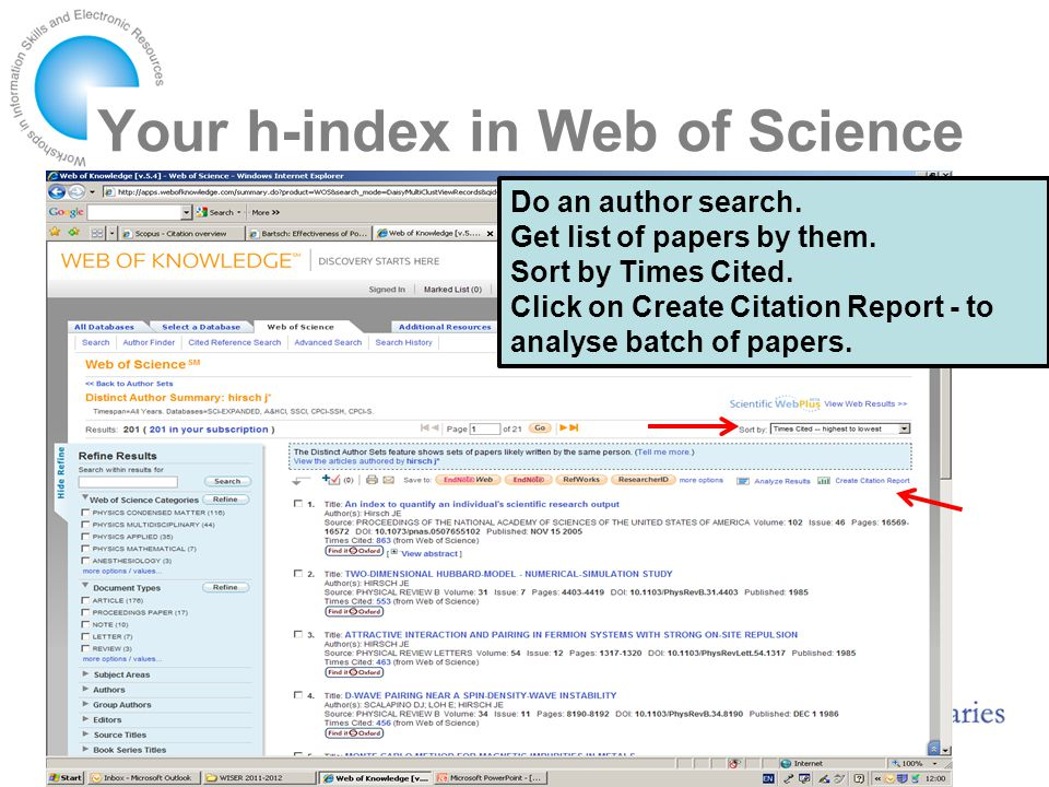Your h-index in Web of Science Do an author search.