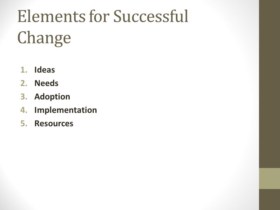Elements for Successful Change 1.Ideas 2.Needs 3.Adoption 4.Implementation 5.Resources
