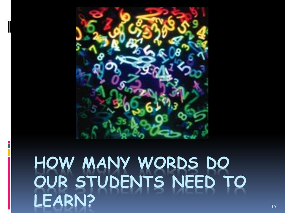 Estimates about the number of words a learner needs to know  Webster's 3 rd has about 54,000 word families (250.000 words!).