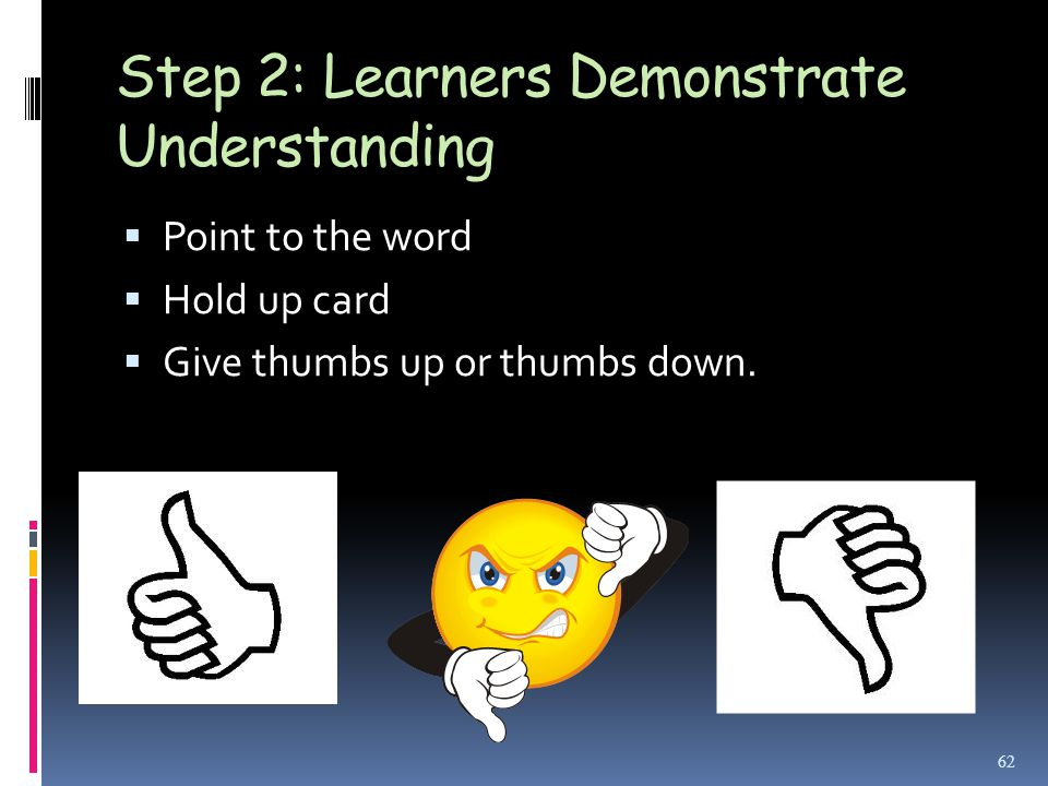 Step 2: Learners Demonstrate Understanding  Point to the word  Hold up card  Give thumbs up or thumbs down.