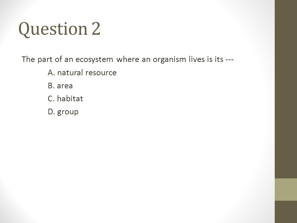 Question 2 The part of an ecosystem where an organism lives is its --- A. natural resource B. area C. habitat D. group